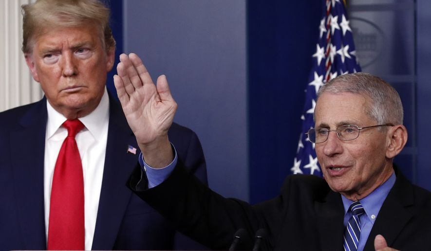 President Donald Trump listens as Dr. Anthony Fauci, director of the National Institute of Allergy and Infectious Diseases, speaks about the coronavirus in the James Brady Briefing Room, Tuesday, March 24, 2020, in Washington. (AP Photo/Alex Brandon)