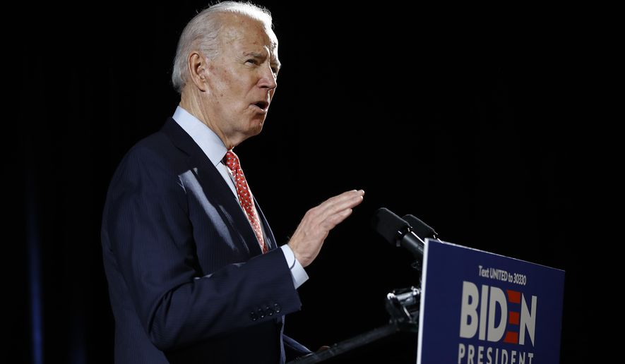 Democratic presidential candidate former Vice President Joe Biden speaks about the coronavirus Thursday, March 12, 2020, in Wilmington, De. (AP Photo/Matt Rourke) **FILE**