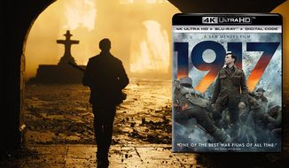 "A burning church illuminates a destroyed French town in ""1917,"" now available on 4K Ultra HD from Universal Studios Home Entertainment."
