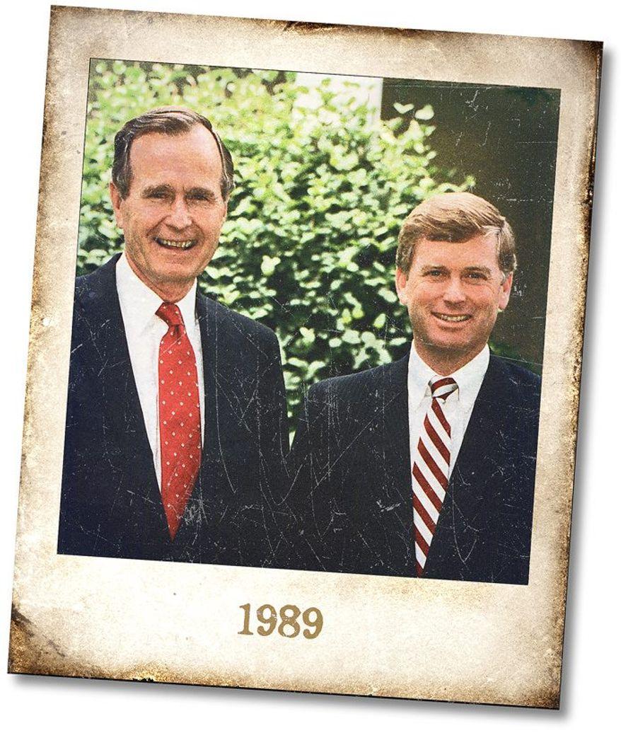 President Bush and Vice President Quayle, circa 1989 Illustration by Greg Groesch/The Washington Times