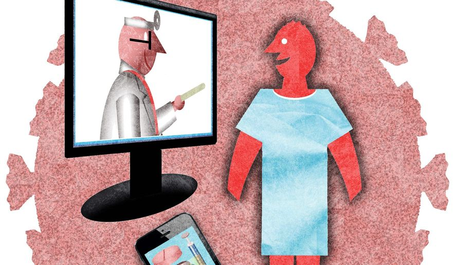 Illustration on the virtues of telehealth systems by Alexander Hunter/The Washington Times