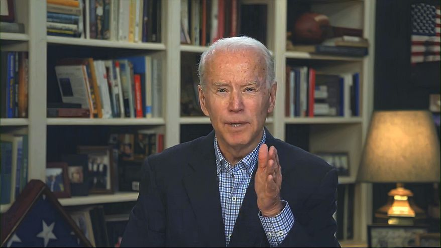 In this image from video provided by the Biden for President campaign, Democratic presidential candidate former Vice President Joe Biden speaks during a virtual press briefing Wednesday, March 25, 2020. (Biden for President via AP)  **FILE**