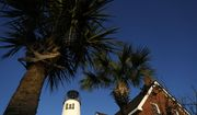The St. George Island lighthouse, bottom left, is seen, Thursday, March 19, 2020, in Eastpoint, Fla. (AP Photo/Julio Cortez)