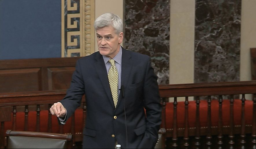 In this image from video, Sen. Bill Cassidy, R-La., speaks on the Senate floor at the U.S. Capitol in Washington, Tuesday, March 24, 2020. (Senate Television via AP)
