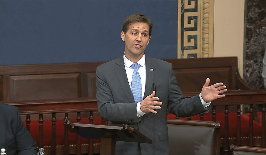 In this image from video, Sen. Ben Sasse, R-Neb., speaks on the Senate floor at the U.S. Capitol in Washington, Wednesday, March 25, 2020. (Senate Television via AP)