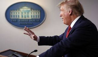 President Donald Trump speaks about the coronavirus in the James Brady Briefing Room, Wednesday, March 25, 2020, in Washington. (AP Photo/Alex Brandon)
