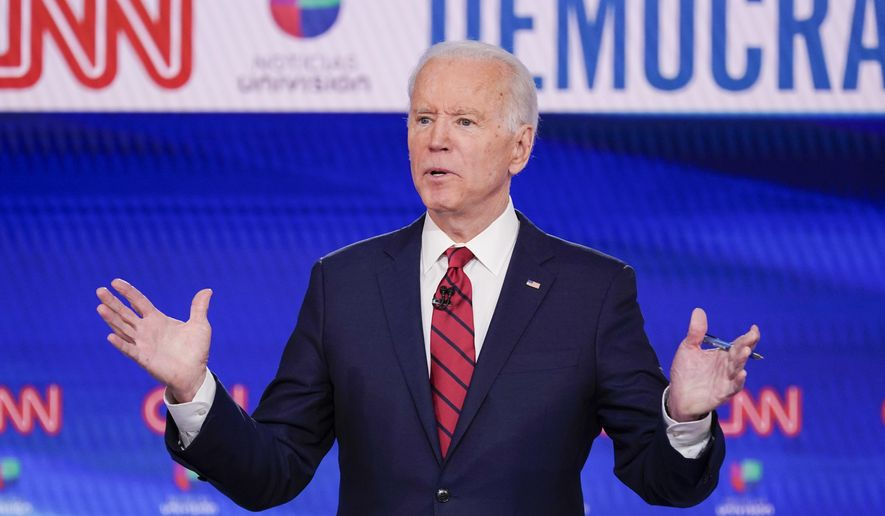 Former Vice President Joe Biden, participates in a Democratic presidential primary debate at CNN Studios in Washington, Sunday, March 15, 2020. (AP Photo/Evan Vucci) ** FILE **