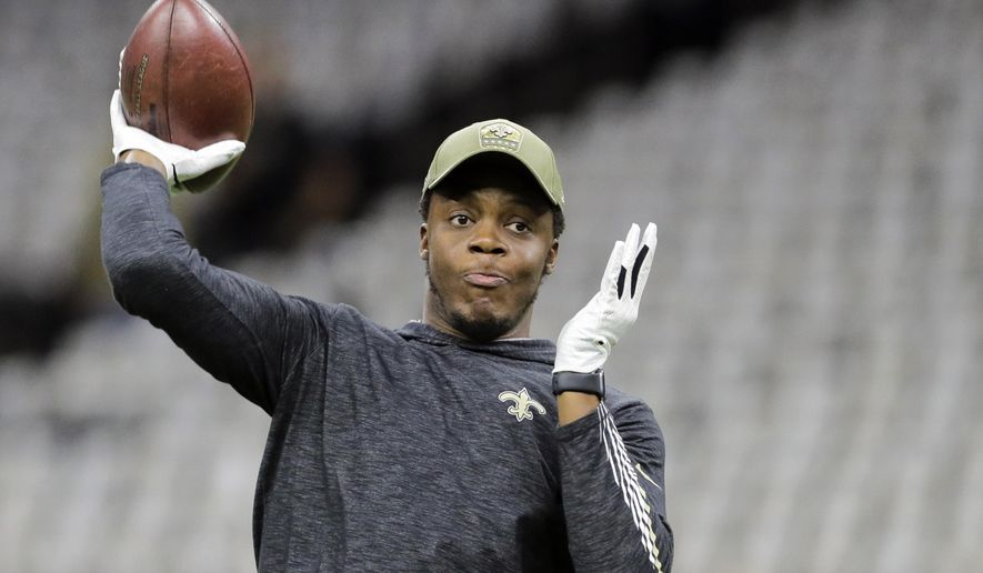 FILE - In this Nov. 10, 2019, file photo, New Orleans Saints quarterback Teddy Bridgewater throws before the New Orleans Saints host the Atlanta Falcons at the Mercedes-Benz Superdome in New Orleans, La. The Carolina Panthers have worked out a deal with Teddy Bridgewater to replace quarterback Cam Newton. A person familiar with the deal says Bridgewater is taking a three-year, $63 million contract after winning all five of his starts for New Orleans last season. (David Grunfeld/The Times-Picayune/The New Orleans Advocate via AP, File)