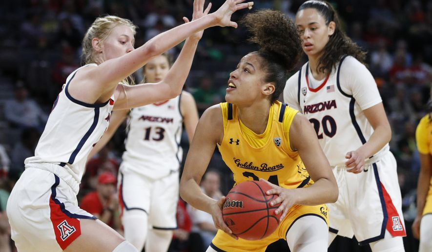 FILE - In this Friday, March 6, 2020, file photo, California's Evelien Lutje Schipholt (24) shoots against Arizona's Cate Reese, left, during the first half of an NCAA college basketball game in the quarterfinal round of the Pac-12 women's tournament in Las Vegas. Lutje Schipholt, from The Netherlands, is one of more than 20,000 foreign athletes currently competing at NCAA schools, according to the organization. With competition canceled across all NCAA divisions because of the new coronavirus, many of those athletes face a dilemma. Their campuses are shut down, but the coronavirus situation in their homeland may be worse than it is in the United States. (AP Photo/John Locher, File)