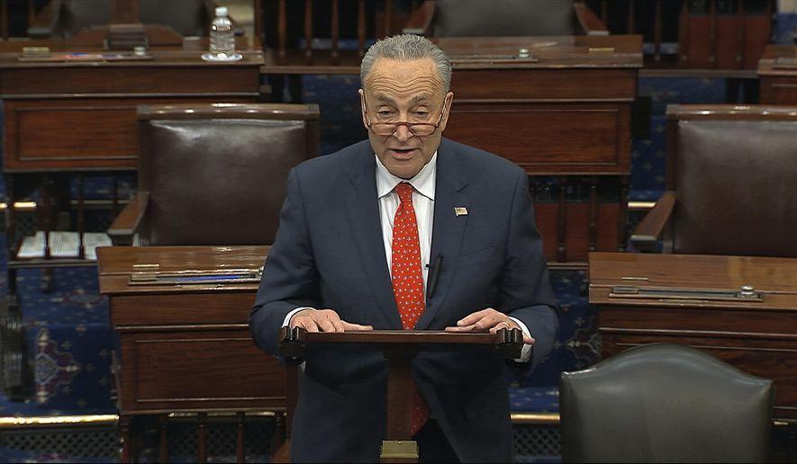 In this image from video, Senate Minority Leader Chuck Schumer, D-N.Y., speaks on the Senate floor at the U.S. Capitol in Washington, Wednesday, March 25, 2020. (Senate Television via AP) ** FILE **