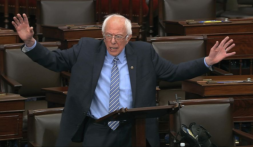 In this image from video, Sen. Bernie Sanders, I-Vt., speaks on the Senate floor at the U.S. Capitol in Washington, Wednesday, March 25, 2020. (Senate Television via AP) ** FILE **