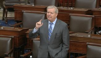 In this image from video, Sen. Lindsey Graham, R-S.C., speaks on the Senate floor at the U.S. Capitol in Washington, Tuesday, March 24, 2020. (Senate Television via AP)