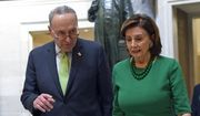 In this March 12, 2020, file photo, Senate Minority Leader Sen. Chuck Schumer of N.Y., and House Speaker Nancy Pelosi of Calif., walks together as they head to a lunch with Irish Prime Minister Leo Varadkar on Capitol Hill in Washington. (AP Photo/Susan Walsh, File)