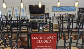 An indoors sitting bar is closed inside the Gelson's Market in Los Feliz neighborhood of Los Angeles Thursday, March 26, 2020. As supermarkets remained one of the few retail businesses still open, a union representing more than 120,000 grocery store employees and 15,000 who work in drug stores started a petition drive for safer working conditions. The United Food and Commercial Workers International Union locals are asking California Gov. Gavin Newsom to order stores to provide workers with personal protective equipment, hand-washing breaks every 30 minutes, and help with controlling crowds. (AP Photo/Damian Dovarganes)