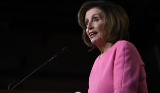 House Speaker Nancy Pelosi of Calif., speaks during a news conference on Capitol Hill in Washington, Thursday, March 26, 2020. (AP Photo/Susan Walsh)