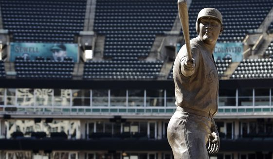 A statue of former Cleveland Indians Jim Thome stands in an empty Progressive Field, March 26, 2020, in Cleveland. The Cleveland Indians were scheduled to play the Detroit Tigers in an Opening Day baseball game Thursday but the season has been postponed due to the coronavirus. (AP Photo/Tony Dejak)