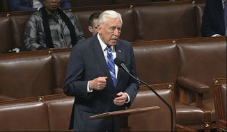 In this file image from video, House Majority Leader Steny Hoyer of Md., speaks on the floor of the House of Representatives at the U.S. Capitol in Washington, Friday, March 27, 2020. (House Television via AP)  **FILE**