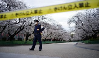 A security person stands guard at the famed street of cherry blossoms which is closed as a safety precaution against the new coronavirus at Ueno Park in Tokyo Friday, March 27, 2020. The new coronavirus causes mild or moderate symptoms for most people, but for some, especially older adults and people with existing health problems, it can cause more severe illness or death.(AP Photo/Eugene Hoshiko)