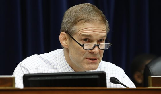 In this Wednesday, March 11, 2020, file photo, Rep. Jim Jordan, R-Ohio, speaks during a House Oversight Committee hearing on Capitol Hill in Washington. (AP Photo/Patrick Semansky) ** FILE **