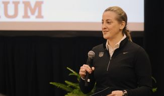 In this Feb. 26, 2019, file photo, Samantha Rapoport speaks at the NFL Women's Forum in Indianapolis. The forum was begun by Rapoport, the league's senior director of diversity and inclusion. The idea is simple: providing opportunities. (AP Photo/AJ Mast, File)  **FILE**