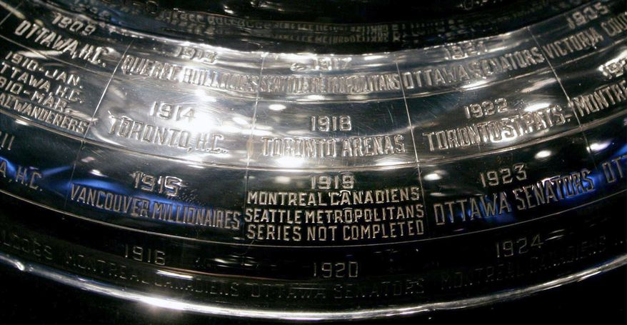"""FILE - In this Feb. 4, 2005, file photo, the inscription on the Stanley Cup showing the 1919 series, the only series in the history of the cup not completed, is shown at the Hockey Hall of Fame in Toronto. Anyone who scoffs at drastic measures to deal with the coronavirus outbreak, who wonders if it was really necessary to shut down sports around the world, needs to learn the tragic story of the 1919 Stanley Cup Finals. It's right there on the silver chalice, engraved alongside all the championship teams. """"Series not completed."""" (Adrian Wyld/The Canadian Press via AP"""