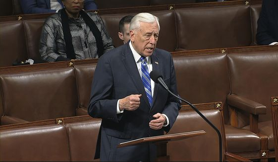 In this image from video, House Majority Leader Steny Hoyer of Md., speaks on the floor of the House of Representatives at the U.S. Capitol in Washington, Friday, March 27, 2020. (House Television via AP) ** FILE **