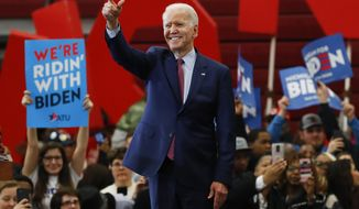 In this March 9, 2020, file photo, Democratic presidential candidate former Vice President Joe Biden speaks during a campaign rally at Renaissance High School in Detroit. (AP Photo/Paul Sancya, File)