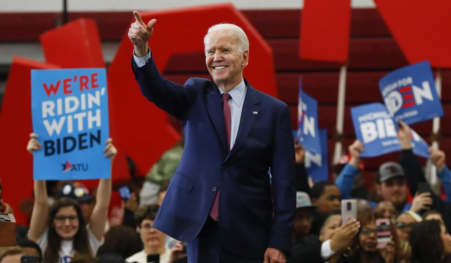 In this March 9, 2020, file photo Democratic presidential candidate former Vice President Joe Biden speaks during a campaign rally at Renaissance High School in Detroit. (AP Photo/Paul Sancya, File)