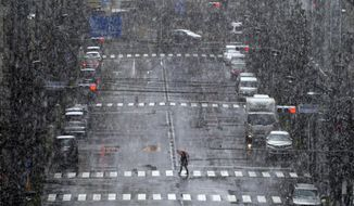 A woman walks in falling snow in Tokyo Saturday, March 28, 2020. Tokyo Gov. Yuriko Koike has repeatedly asked the city's 13 million residents to stay home this weekend, saying the capital is on the brink of an explosion in virus infections. She warned of a possible hard shutdown of the city if the spread of the virus doesn't slow. (AP Photo/Eugene Hoshiko)