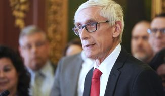 In this Feb. 6, 2020, file photo, Wisconsin Gov. Tony Evers holds a news conference in Madison, Wis. (Steve Apps/Wisconsin State Journal via AP, File)