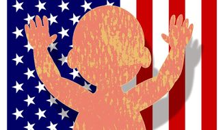 Illustration on the need for American birthrates to increase by Alexander Hunter/The Washington Times