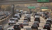 This Dec. 12, 2018, file photo shows traffic on the Hollywood Freeway in Los Angeles. (AP Photo/Damian Dovarganes, File)