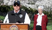 """Maryland Gov. Larry Hogan announces a """"stay-at-home"""" directive during a news conference on Monday, March 30, 2020, in Annapolis, Md. Hogan said no Maryland resident should be leaving home unless it is for an essential job or for an essential reason such as obtaining food, medicine or urgent medical attention. The order was set to go into effect at 8 p.m. Monday. (AP Photo/Brian Witte)"""