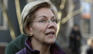 In this Thursday, March 5, 2020, file photo, Sen. Elizabeth Warren, D-Mass., speaks to the media outside her home in Cambridge, Mass., after she dropped out of the Democratic presidential race. (AP Photo/Steven Senne) ** FILE **