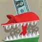 Illustration on the Iranian propaganda campaign by Linas Garsys/The Washington Times