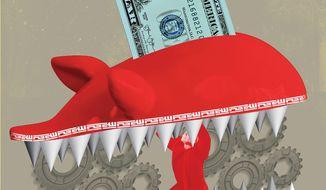 Illustration on the Iranian propaganda campaign by Linas Garsys/The Washington Times