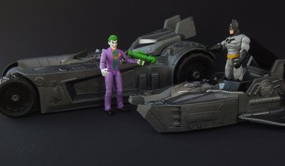 Spin Master's Transforming Batmobile with action figures of the Joker and  Batman (Photograph by Joseph Szadkowski / The Washington Times)