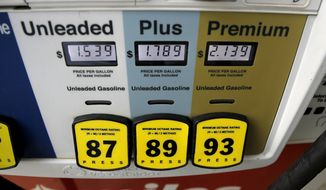 A gas station's pump gas prices Tuesday, March 31, 2020, in Ridgeland, Miss. Earlier this week, U.S. gasoline prices had dropped to their lowest levels in four years, and they are almost sure to go lower as oil prices plunge. (AP Photo/Julio Cortez)