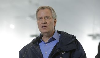 New York City Mayor Bill de Blasio speaks at the USTA Indoor Training Center where a 350-bed temporary hospital will be built Tuesday, March 31, 2020, in New York.  (AP Photo/Frank Franklin II) **FILE**