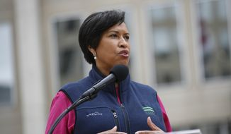 In this file photo, District of Columbia Mayor Muriel Bowser speaks about the District's coronavirus response at a news conference, Tuesday, March 31, 2020, in Washington. (AP Photo/Patrick Semansky) ** FILE **