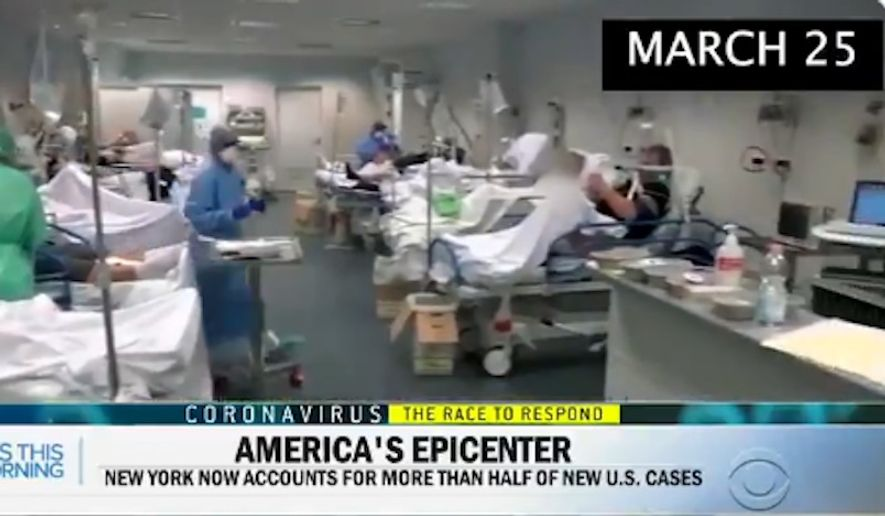 CBS News blamed an editing mistake after airing footage of an overcrowded Italian hospital during a report on the coronavirus outbreak's impact on New York City. (CBS News footage via @BennyJohnson)