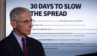 Dr. Anthony Fauci, director of the National Institute of Allergy and Infectious Diseases, listens as President Donald Trump speaks about the coronavirus in the James Brady Press Briefing Room of the White House, Tuesday, March 31, 2020, in Washington. (AP Photo/Alex Brandon)