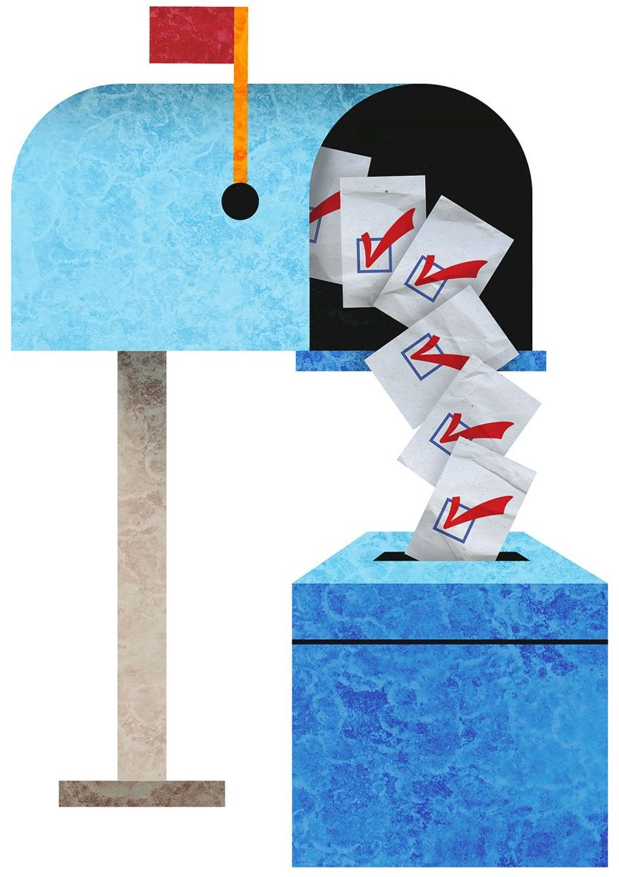 Mailbox Voting Illustration by Greg Groesch/The Washington Times