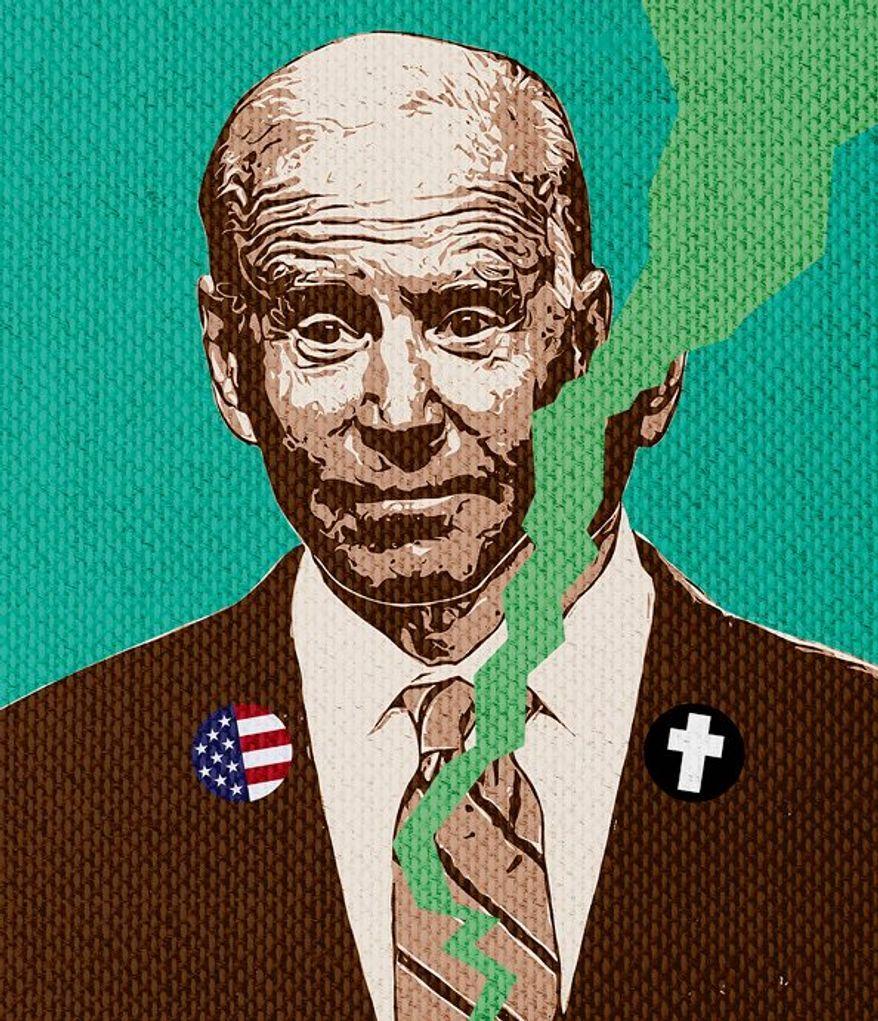 Biden Flip Flop Illustration by Greg Groesch/The Washington Times