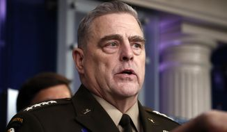Chairman of the Joint Chiefs Gen. Mark Milley speaks about the coronavirus in the James Brady Press Briefing Room of the White House, Wednesday, April 1, 2020, in Washington. (AP Photo/Alex Brandon)