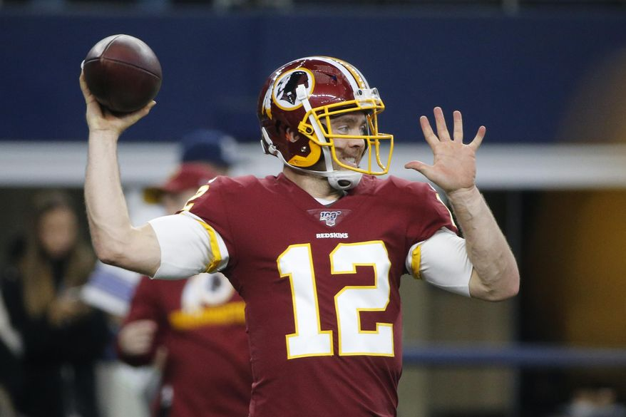 FILE - In this Dec. 15, 2019 file photo Washington Redskins quarterback Colt McCoy (12) throws before an NFL football game against the Dallas Cowboys in Arlington, Texas. After spending much of the past six seasons as a backup quarterback with the Redskins, Colt McCoy knows his job coming to the New York Giants. His primary task is to help offensive coordinator Jason Garrett and new coach Joe Judge get starting quarterback Daniel Jones, ready to play every week. Be another set of eyes, another set of ears, another encouraging voice for the second-year player. (AP Photo/Michael Ainsworth, file)
