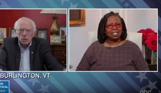 """""""The View"""" co-host Whoopi Goldberg on Wednesday confronted Sen. Bernie Sanders on his decision to remain in the Democratic presidential primary, despite the unlikelihood of him winning the nomination against Joe Biden and as the country battles the crippling coronavirus pandemic. (ABC's """"The View"""")"""