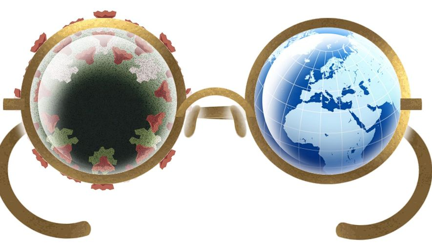 Illustration on a new view of world relationships in light of the pandemic by Alexander Hunter/The Washington Times