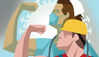 Back to work after the coronavirus pandemic Illustration by Linas Garsys/The Washington Times