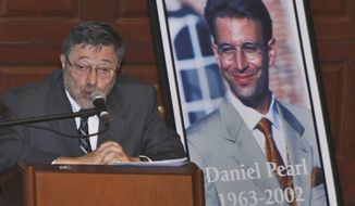 FILE - In this April 15, 2007, file photo, Dr. Judea Pearl, father of American journalist Daniel Pearl, who was killed by terrorists in 2002, speaks in Miami Beach, Fla. A Pakistani court on Thursday, April 2, 2020, overturned the murder conviction of a British Pakistani man found guilty of the kidnapping and murder of Wall Street journalist Daniel Pearl.  (AP Photo/Wilfredo Lee, File)